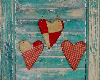 3 Rustic Heart Ornaments, Primitive Decor, Antique Quilt Tattered Hearts, Farmhouse Decor Style, Red White Polkadots - READY TO SHIP