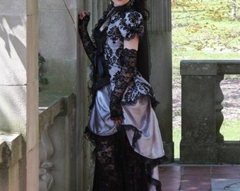 Gothic Temptation Victorian Bridal Gown - Silver Grey - Ready to Ship