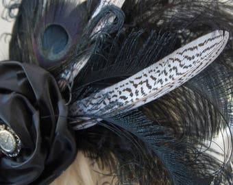 Taffeta Fascinator with handmade flower - Ready to Ship