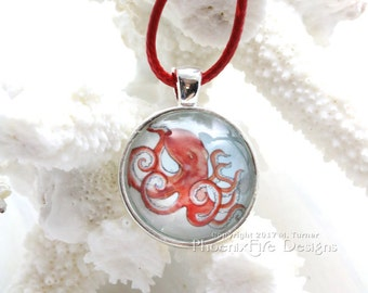 Octopus Necklace Steampunk Octopus Jewelry Red Kraken Pendant Watercolor Octopus Painting Nautical Print Silver Bezel Glass Dome Boho Beach