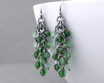 Green Beaded Earrings Dangling Earrings Green Crystal Earrings Silver Jewelry Green Earrings Beaded Jewelry Crystal Jewelry - Shaggy Loops