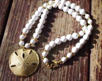 SAND Dollar 1970's 80's Vintage Bright White Beaded TRIFARI Pendant Necklace w/ Gold Sand Dollar // Signed // Summer Beachy Jewelry