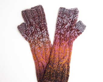 Multi-colored Fingerless Mitts, Hand Knitted Wool Fingerless Gloves, In a Twist Style Knitwear, Fall and Winter Fashion