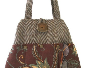unique handbag, tote bag, hobo purse, shoulder tote, hobo handbag, shoulder bag, tapestry fabric hobo bag, 7 pocket bag ,ready to ship