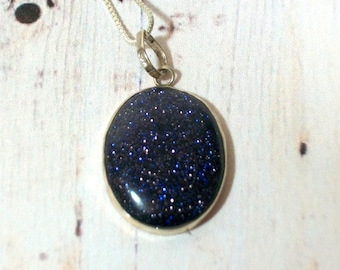 Blue Goldstone Galaxy Necklace Set in Sterling Silver on Sterling Chain Art Glass Semi Precious 925 Pendant