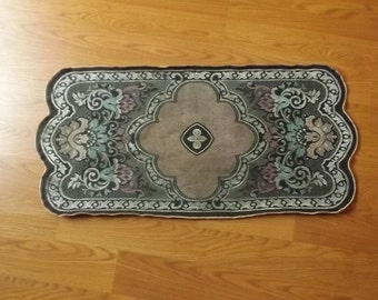 Silk Tapestry Table Runner, Vintage Vanity Dresser Scarf with Velvet Backing, Floral & Feather Scroll Doily