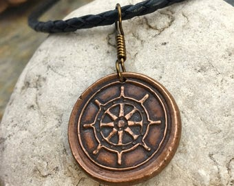 Copper Compass Rose Pendant, Men's Compass Jewelry, Wax Seal, Copper Sailing Jewelry, True North, Gifts for men, Compass Necklace