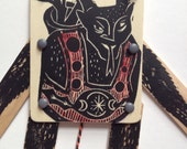 Articulated Krampus Jumping Jack Hand Printed Wooden Puppet