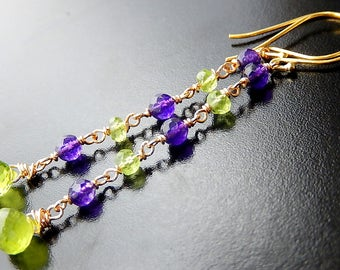 Peridot Drop Earrings, Purple Green Earrings, Gold Vermeil Gemstone Dangles, Birthstone Earrings
