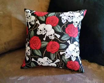 Skulls and Roses - 12x12 Pillow - with form - Skulls - Roses - Black - Red - Dark - Accent Pillow - Handmade - White - Gothic - Horror