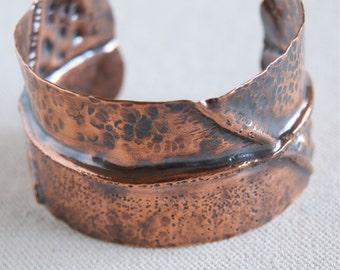 Copper Cuff Bangle Folded Cuff Bracelet Fold Formed Copper Metal Cuffs Copper Cuff Bracelet 7th Anniversary Gift Boho Metal Cuff Adjustable