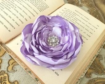 Lavender Flower Hair clip.Brooch.Pin.Headpiece.bridesmaid.Corsage.Lilac.satin flower.light purple.hair piece.wedding.flower girl.accessory