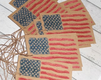 Set of 12 Americana Country Primitive Patriotic Red White Blue USA July 4th Flag Rustic Hang Tags Gift Ties Scrapbooking Ornies Price Tags