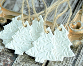 Christmas Tree Ornaments . Set of 5 . Handmade Clay Ornaments . Christmas Ornaments Set . CoWorker Gift Christmas Gifts for CoWorkers