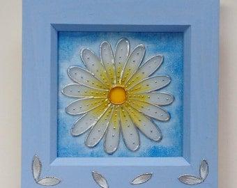 Daisy Glass Art Painting / Original Design / Flower Art / 12cm Box Frame