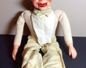 Vintage Juro Charlie McCarthy Ventriloquist Dummy Doll Tie Bib Cream Trousers