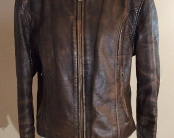 Vintage 80's Steinmark Ladies Distressed Brown Leather Motorcycle Jacket