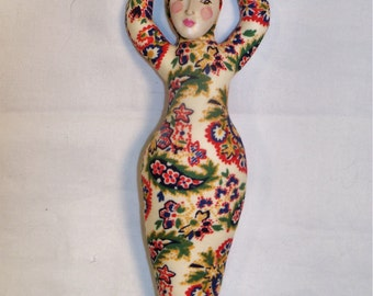 SALE 7 1/2 in. Darling Goddess cloth art doll form w/face cab You finish her Bead Decorate Fantasy