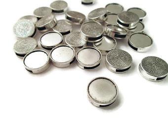 16mm Silver Plated Bezel Slide Charm Pendants, Pick your Amount B1