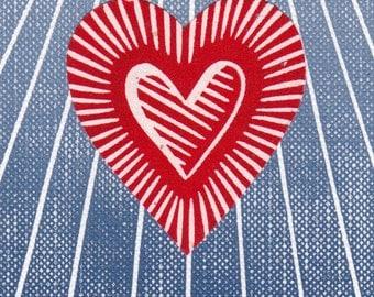 Heart Art Print ACEO ATC Linocut Handmade Stamp Card Gift