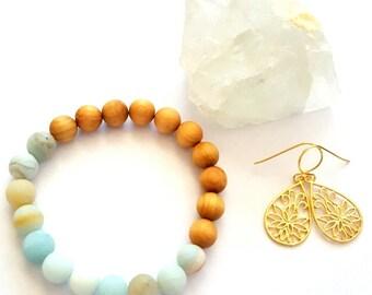 Stackable Gemstone Bracelet & Gold Lotus Earring Set, Healing Gemstone Jewelry, Beaded Bracelet, Yoga Jewelry, Mala Bracelet, Jewelry Set