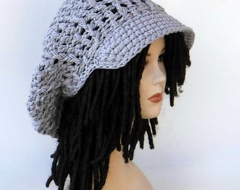 Grey cotton Slouchy Newsboy hat, Visor Tam women men large newsboy cap/man woman dread visor tam/brimmed beanie Hat/cotton billed cap beanie