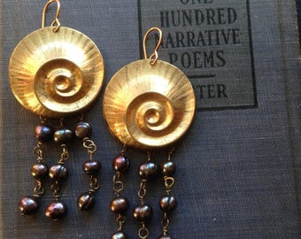 Gold Spiral Shell and Dark Pearl Earrings