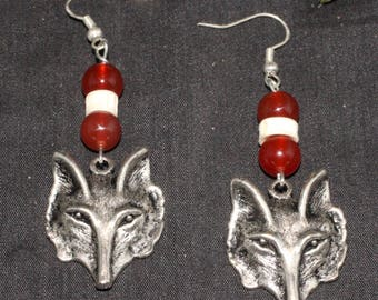 Red Fox, Carnelian and Bone Earrings - For Cunning & the Trickster - Pagan, Wiccan, Familiar Animal