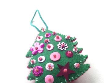 felt ornament, embroidered ornament, felt embroidery, Christmas tree, tree ornament, green and pink,  handmade ornament, felt home decor