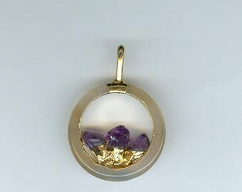 23mm Amethyst Pendant, Small Round Focal Pendant with 7mm Purple Amethyst Points in Gold Plate