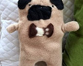 Frank ~ The Fawn Pug Bow Tie Bummlie ~ Stuffing Free Dog Toy ~ Ready To Ship Today - Brown & White Bow Tie