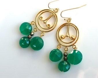 Green Agate Coin, 22kg Vermeil Dangle Focal Chandelier Earrings...