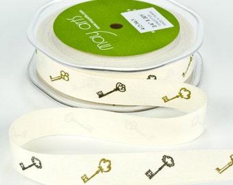 MAY ARTS Ribbon - 1 yard - 3/4 Inch Ivory 100% Cotton w/ Print Ribbon Black / Brown Keys - SKU: 413-34-3