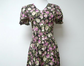 DBY . 80s 90s rose l print romper . size 3 . made in the Philippines