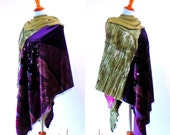 Reserved for Robin...Hooded Stevie Nicks Festival Wear Poncho shawl hippie gypsy boho chic coat cape handmade upcycled jacket wearable art