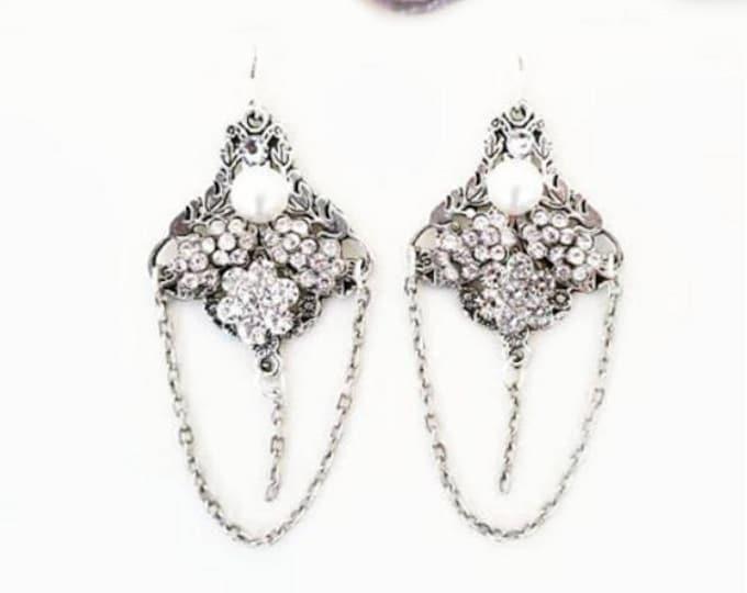 Silver Bridal Earrings Chandelier