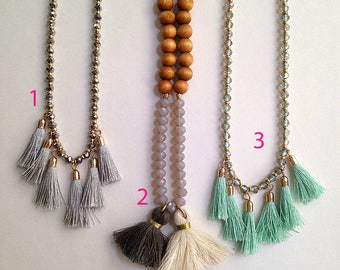Steel grey tassel mala style necklace. Gold, beads, summer, festive, long, hippie, fringe, thread, trendy, fun, teen, chic, statement