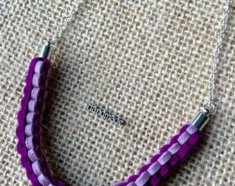 Modern Faux Suede Cord Woven Necklace - Purple / Light Purple - Silver Chain - Simple Chic Minimalist