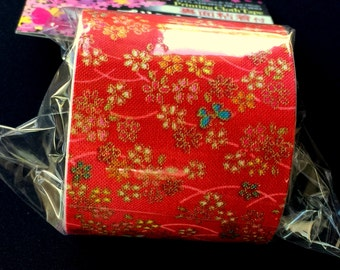 Japanese Fabric Tape - Red Tape - Flower Fabric Tape - Cherry Blossoms - Butterfly