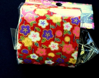 Japanese Fabric Tape - Red Tape - Flower Fabric Tape - Plum Blossoms