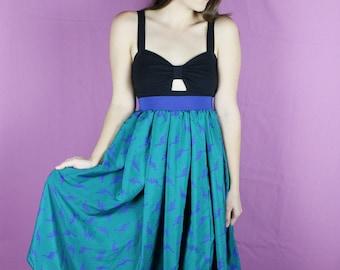 Handmade DINOSAUR Skirt - Green Dinosaur skirt - XL Dinosaur Middy skirt - Handmade green blue Skirt - Lynns Rags long skirt - XL Skirt