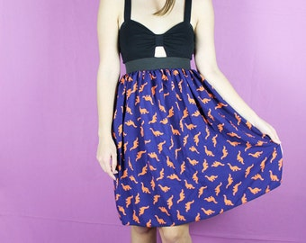 Handmade DINOSAUR Skirt - Blue Orange Dinosaur skirt -Dinosaur Middy skirt - Handmade green blue Skirt - Lynns Rags long skirt
