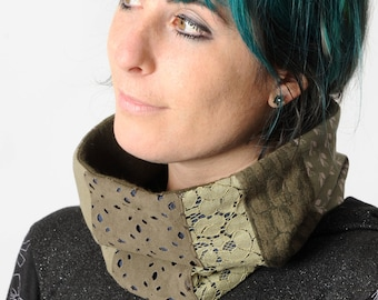 Khaki green Cowl scarf, Green fabric and lace patchwork snood, Womens cowl scarf, Womens Winter accessories, Gift for women, MALAM