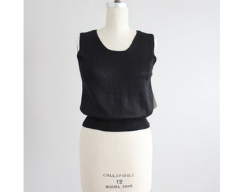 hand loomed top | black knit tank | black knit top