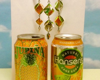 Christmas Ornaments Set of 3 Orange and Green Upcycled from Soda Cans