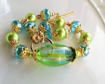 Murano Glass Bracelet, Lime Green Aqua Venetian Glass Gold Bracelet, Blown Glass Bracelet Pearl Crystal Statement Venetian Murano Bracelet