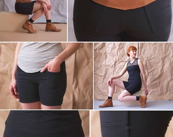 Eco friendly black bamboo pocket shorts. Stretchy, easy fit 4 pocket cuffed shorts -- made to order, any size, with button cuff detail.