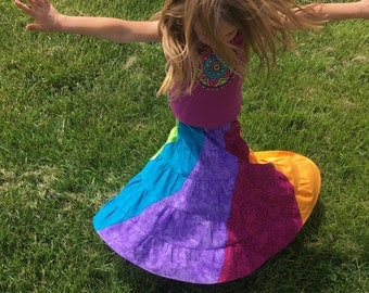 Girls rainbow swirl skirt, 100% cotton  OOAK