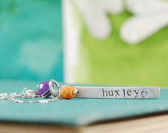 Personalized Name and Date Tag Necklace, Reversible  {Hand Stamped Sterling Silver}