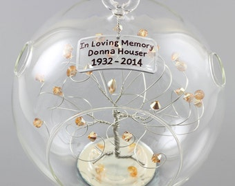 Memorial Ornament In Loving Memory Personalized Gift Silver Tree w Swarovski Crystal Elements Infant Spouse Grandparent Loved One Sympathy